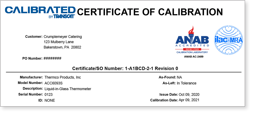 Certificate Of Calibration with logo