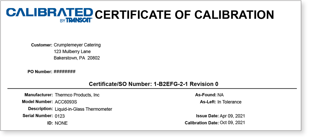 Certificate Of Calibration without logo